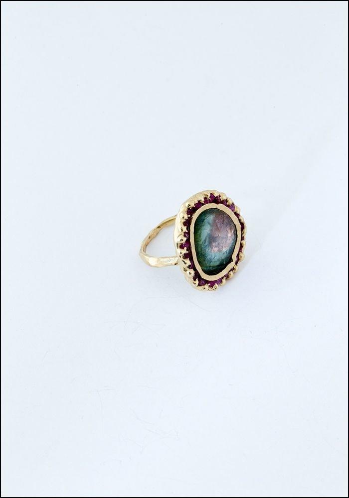 Emilie Shapiro Green Tourmaline Pink Sapphire Ring