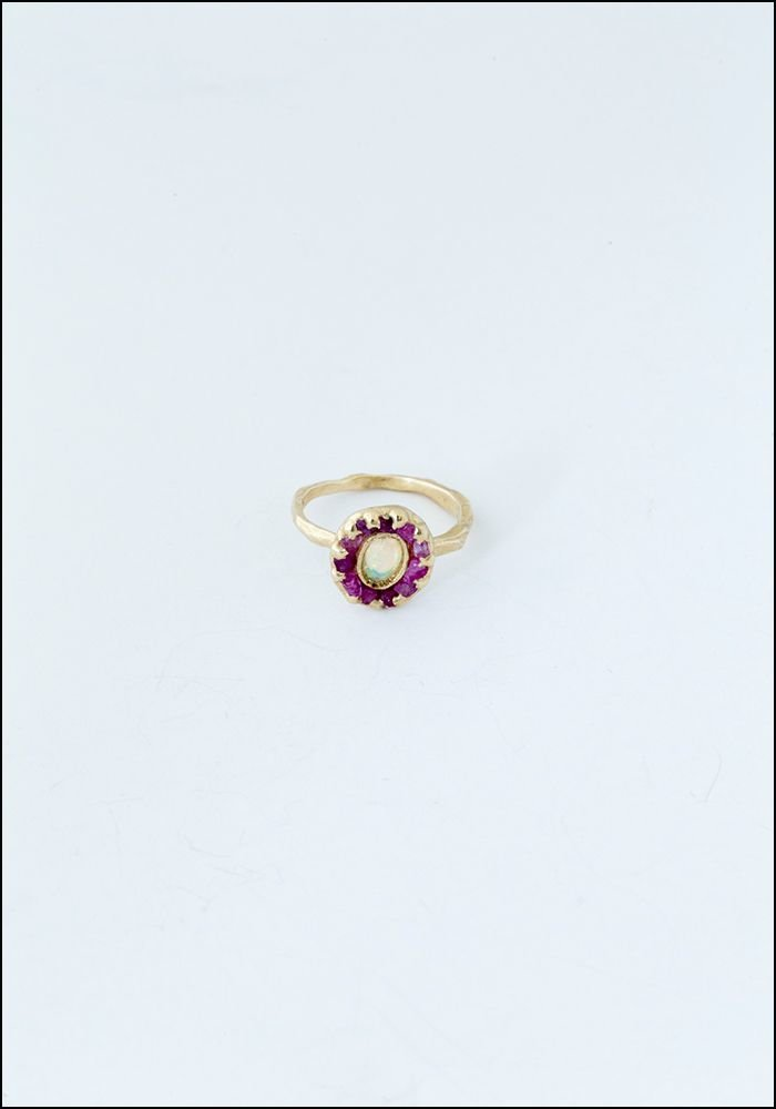 Emilie Shapiro Mini Looking Glass Opal Pink Sapphire RIng