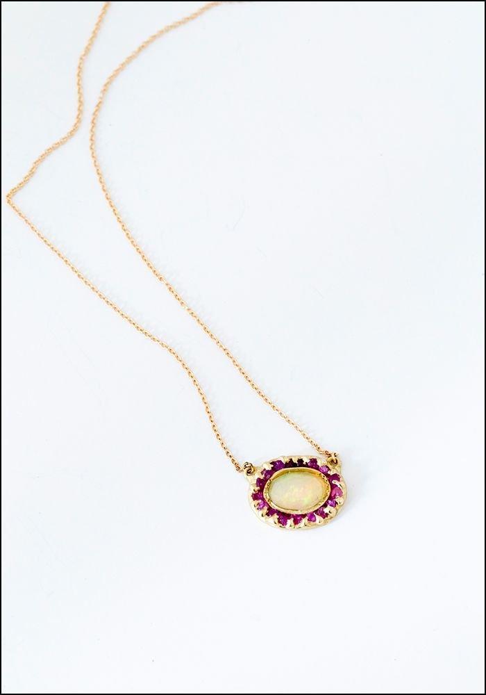 Emilie Shapiro Looking Glass Pendant Opal Pink Sapphire