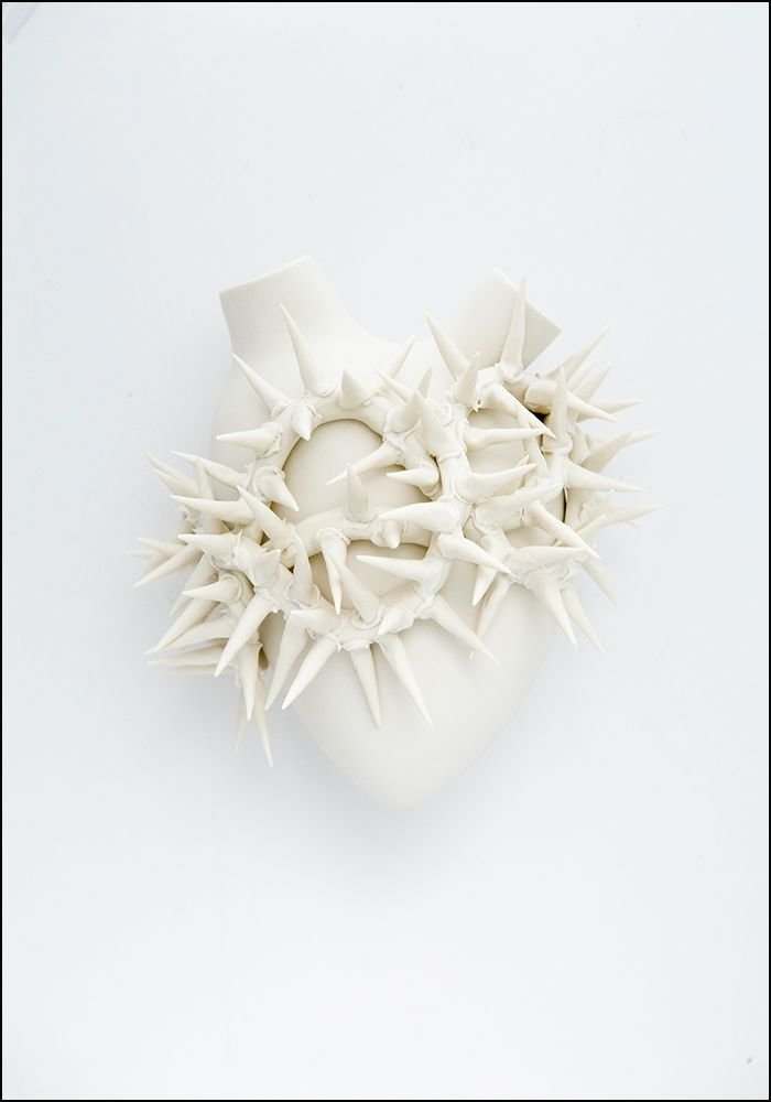 FOS Ceramiche Porcelain White Thorns Heart Wall Vase