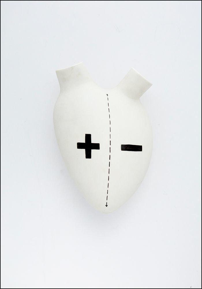 FOS Ceramiche Porcelain Splite Heart Wall Vase