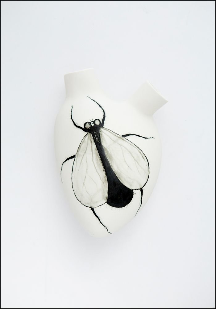 FOS Ceramiche Hand Painted Fly Porcelain Heart Wall Vase