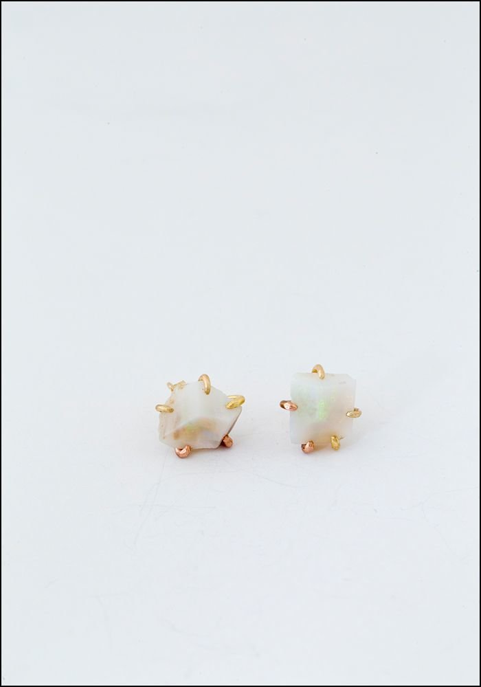 Large Australian Opal Stud Earrings