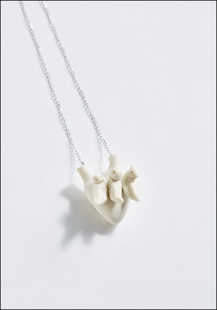 Porcelain Heart Dove Necklace