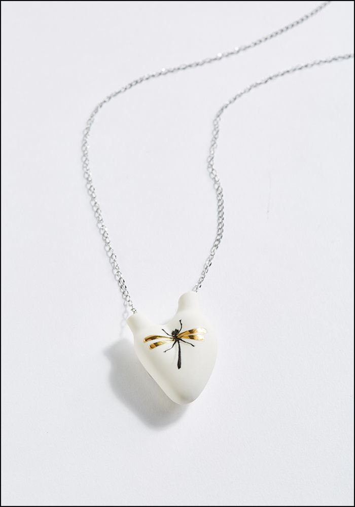 Porcelain Heart Gold Dragonfly Necklace