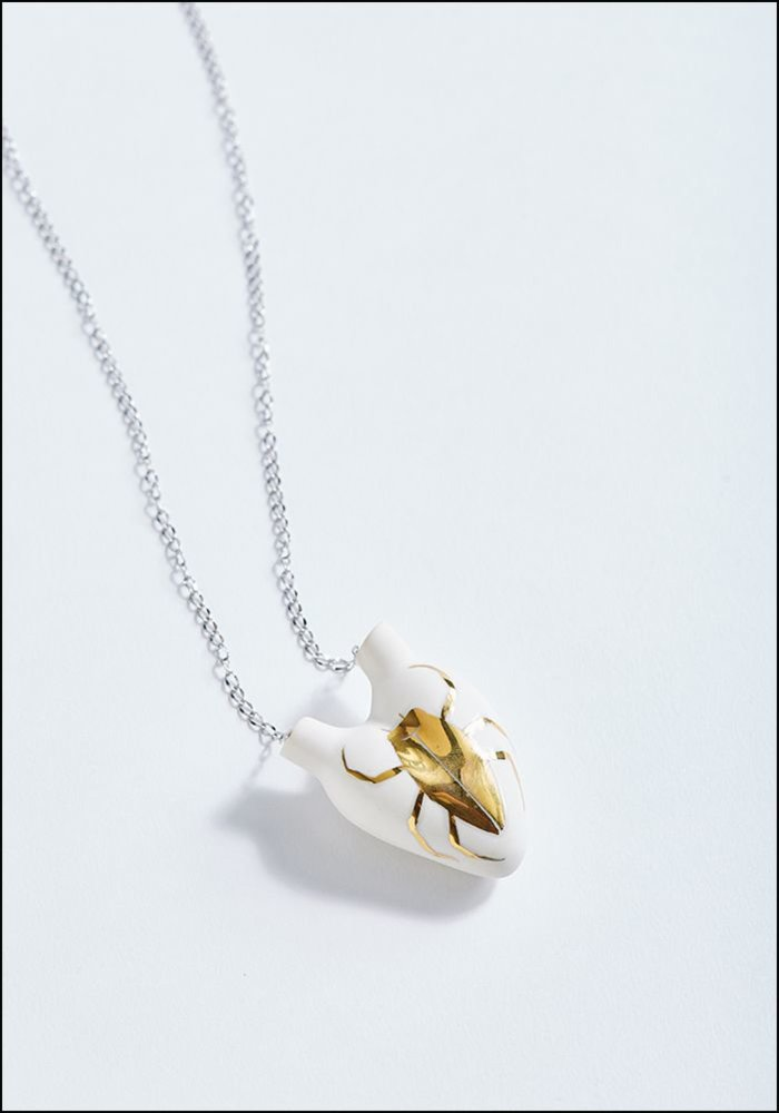 Porcelain Heart Gold Beetle Necklace