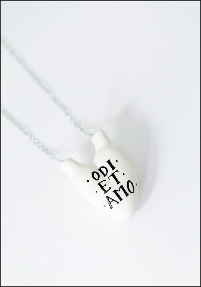 Porcelain Heart Hate Love Necklace