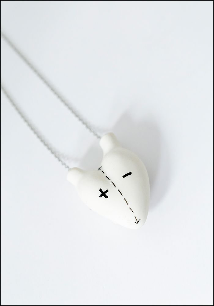 FOS Ceramiche Porcelain Opposites Heart Necklace