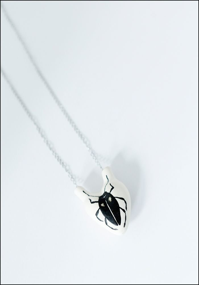 Porcelain Heart Beetle Necklace