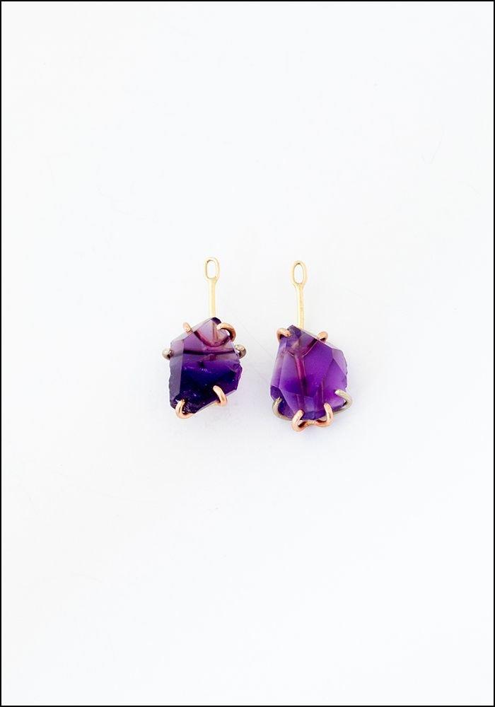 Variance Object Amethyst Drop Earringss