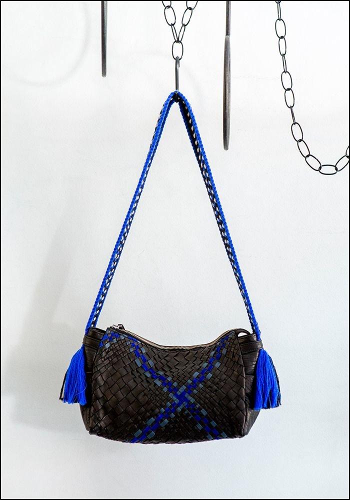 Claramonte Woven Blue Tassels Bag