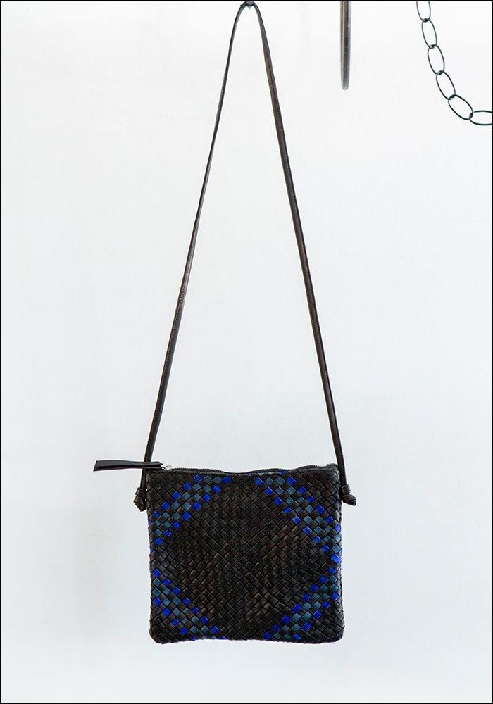 Claramonte Woven Blue Black Crossbody