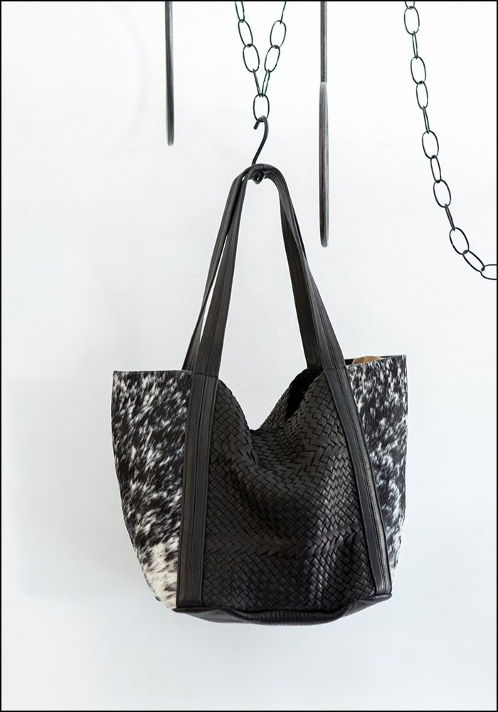 Woven Leather and Cowhide Tote
