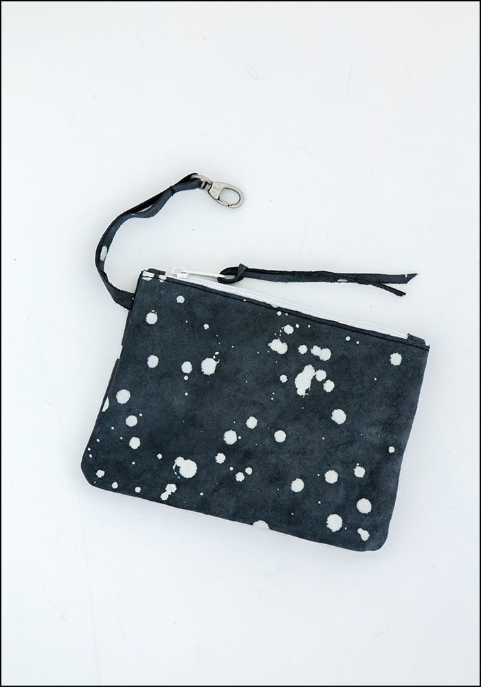 Saisei Saisei Leather Splatter Pouch