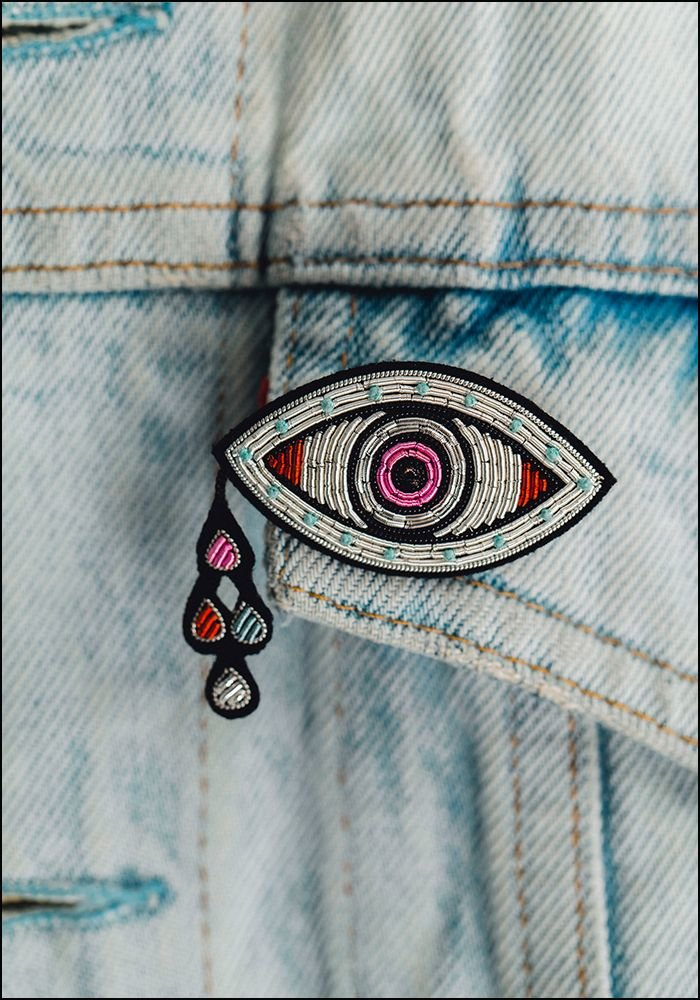 Eye and Tears Embroidered Pin