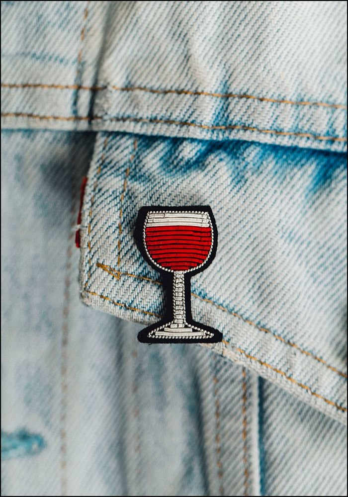 Macon and Lesquoy Red Wine Embroidered Pin