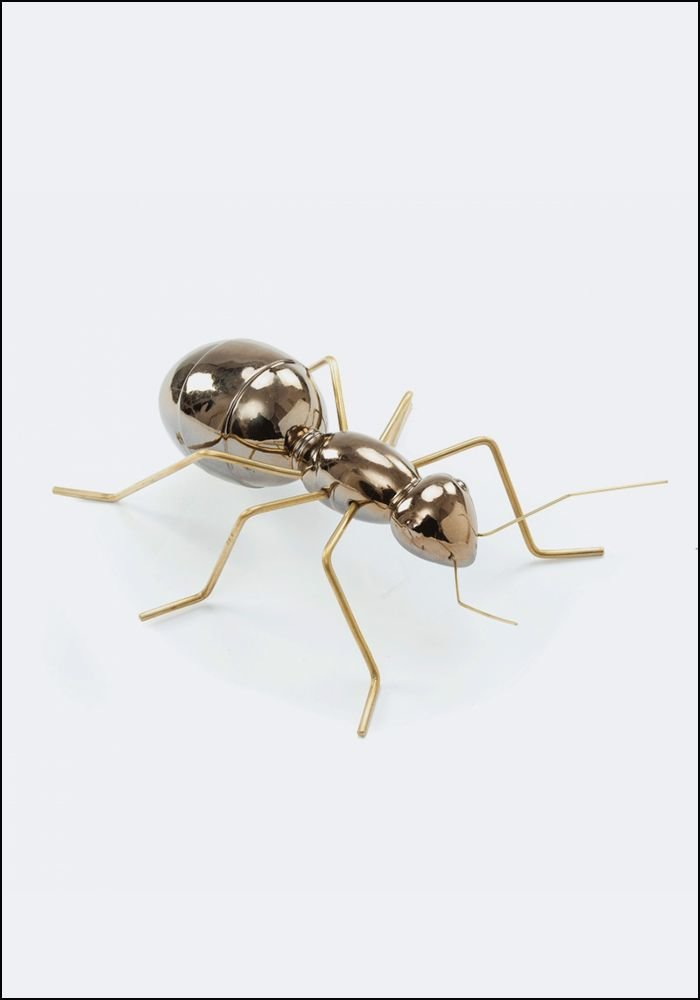 Ceramic and Brass Gold Ant