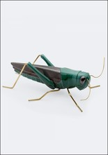 Mambo Unlimited Ideas Ceramic and Brass Oversized Green Grasshopper