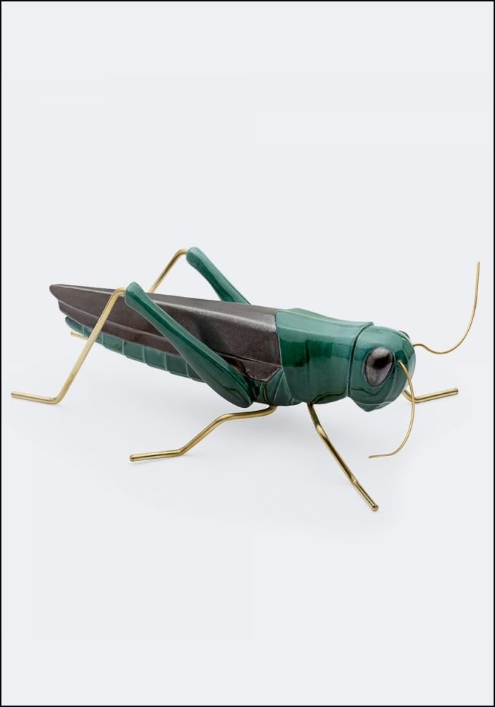 Ceramic and Brass Green Grasshopper
