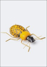 Ceramic and Brass Yellow Beetle