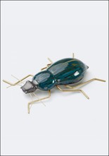 Ceramic and Brass Teal Beetle