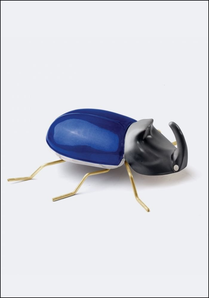 Ceramic and Brass Cobalt Beetle