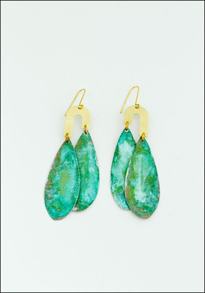Teardrop Patina Earrings
