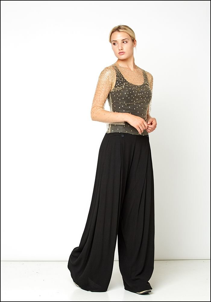 Wide Leg Flare Trousers