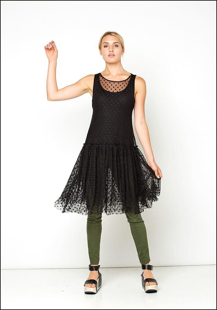 Lurdes Bergada Polkadot Tulle Layering Tank Dress