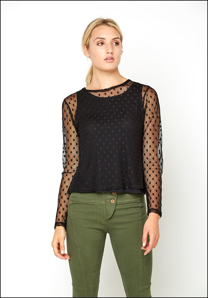 Tulle Polkadot Long Sleeve T