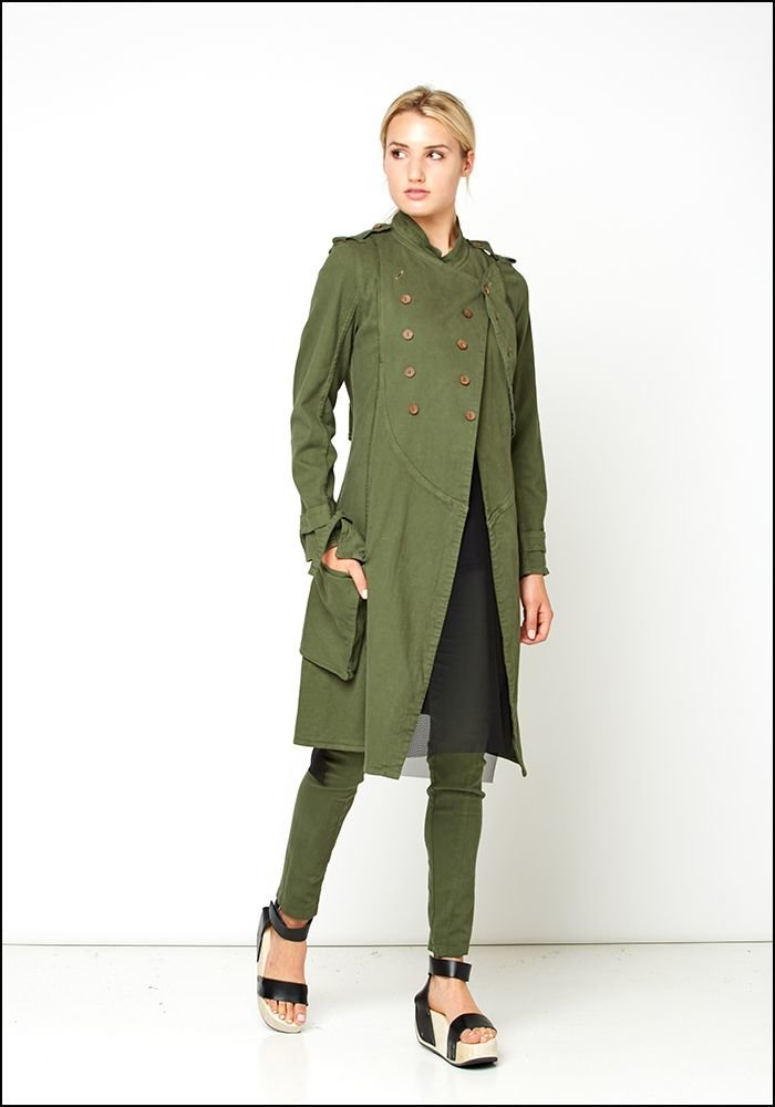 Lurdes Bergada Button Swing Military Style Trench Coat