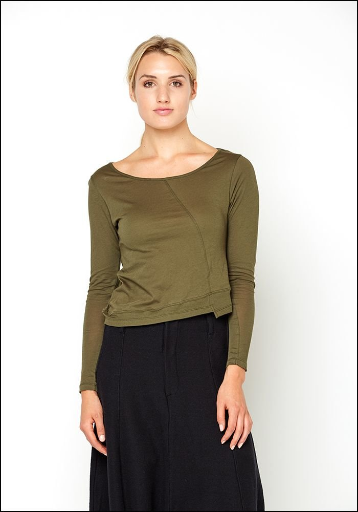 Lurdes Bergada Asymmetric Hem Long Sleeve Cropped Tee