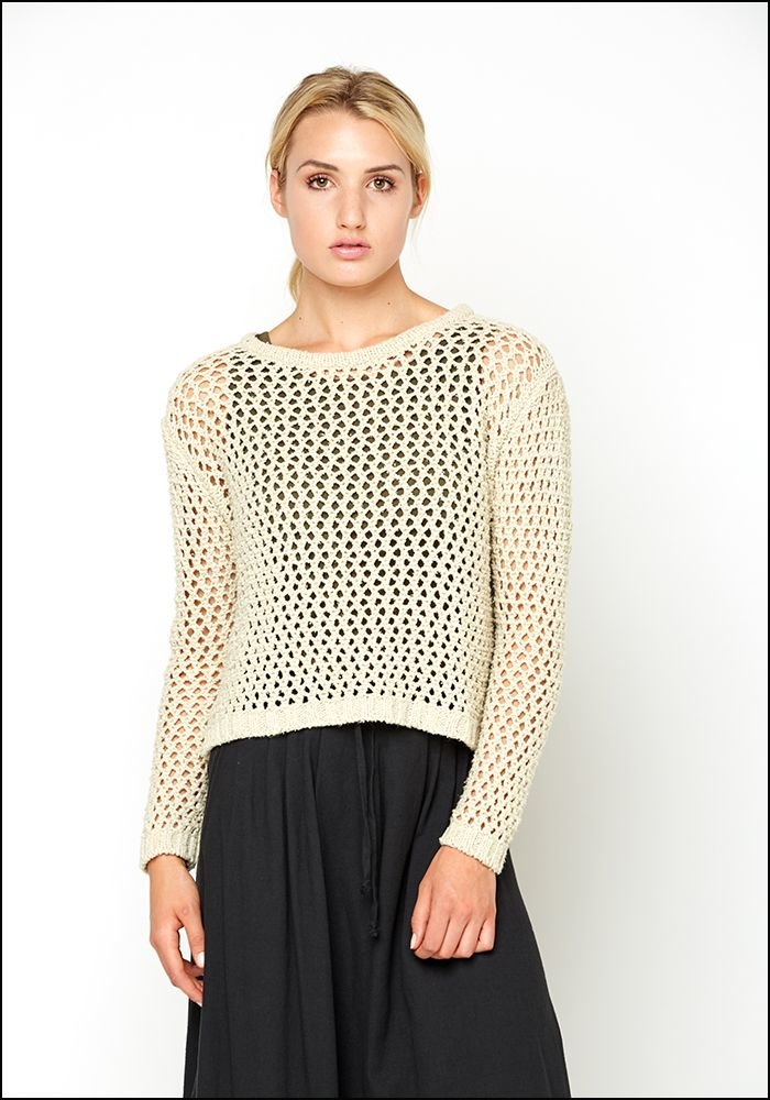 Open Waffle Knit Pullover
