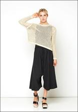 Lurdes Bergada Open Waffle Knit Cropped Pullover Sweater