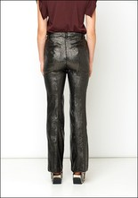 Nude Metallic Flare Trousers