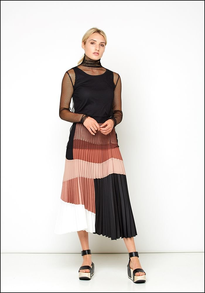 Nude Color Blocked Pleat Skirt