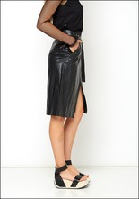 Nude Leather Look Wrap Skirt