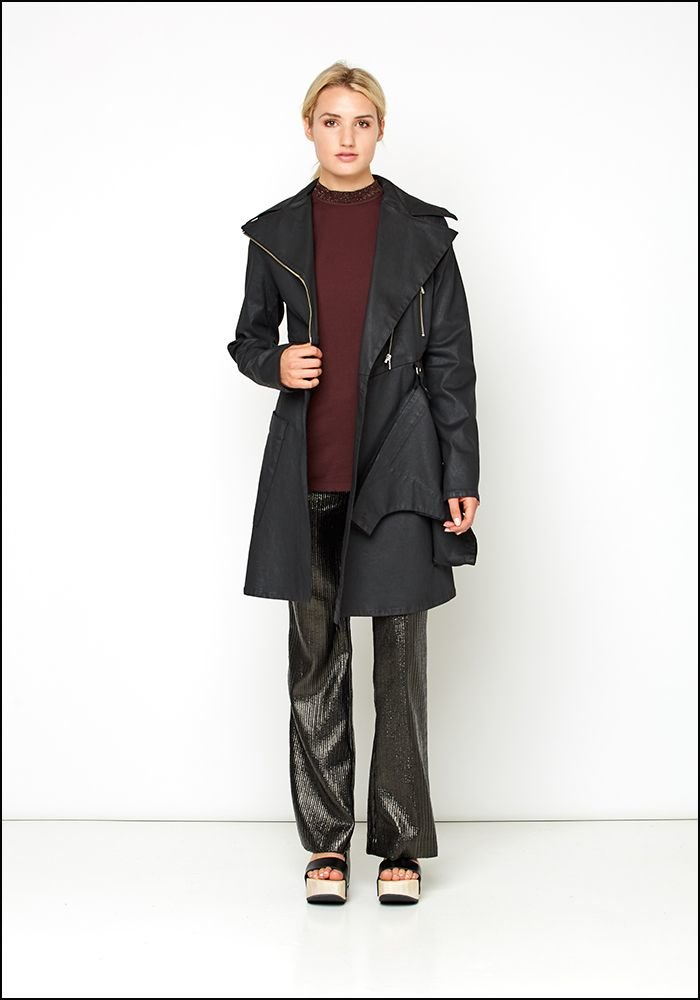 Lurdes Bergada Resin Zip Trench Coat