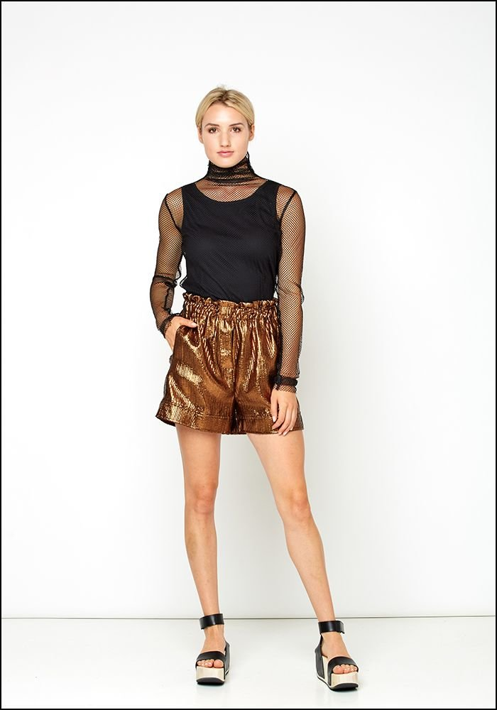 Nude Metallic High Waist Shorts