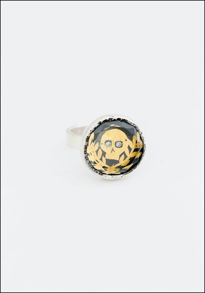 Faceted Quartz Skull Ring