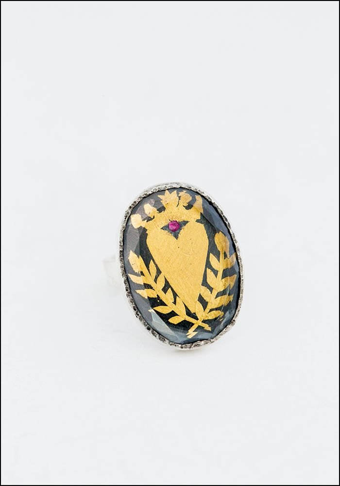 Faceted Quartz Heart Ring