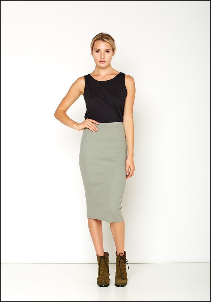 Serie Numerica Ribbed Jersey Pencil Skirt