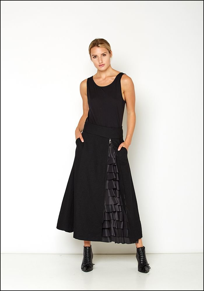 Even If Even If Wool Hidden Ruffle Zip Skirt