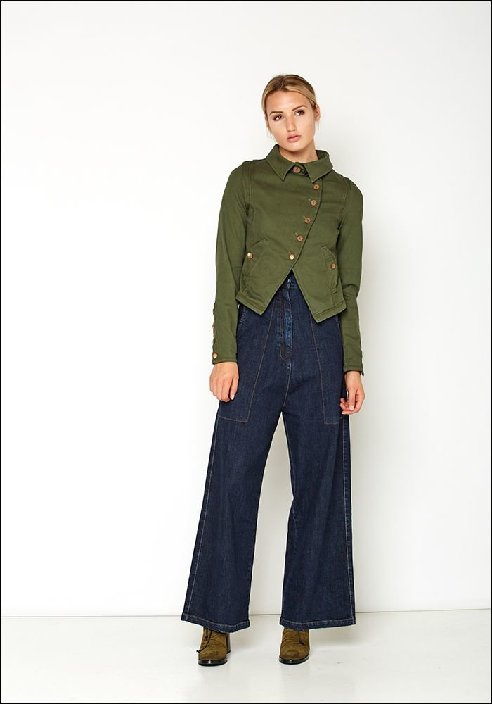Lurdes Bergada Cropped Button Military Style Jacket