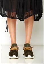 Esseutesse Olive Suede Fringe Sneaker