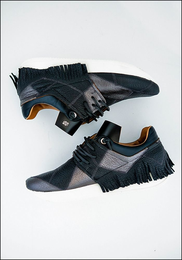 Esseutesse Black Patchwork Leather Fringe Sneaker