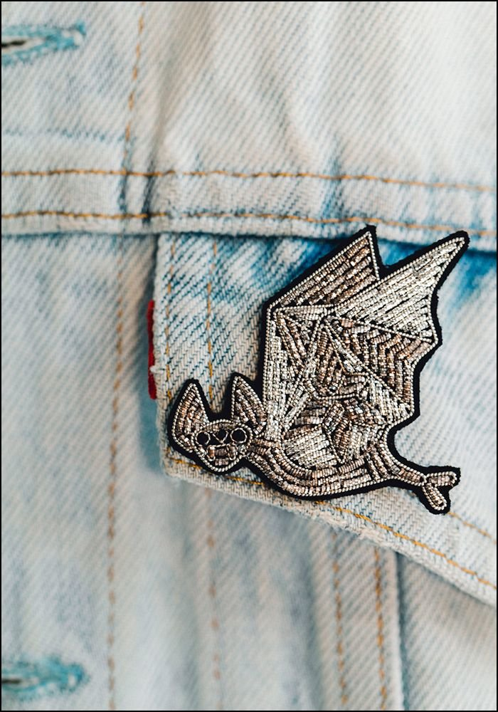 Macon and Lesquoy Flying Bat Embroidered Pin