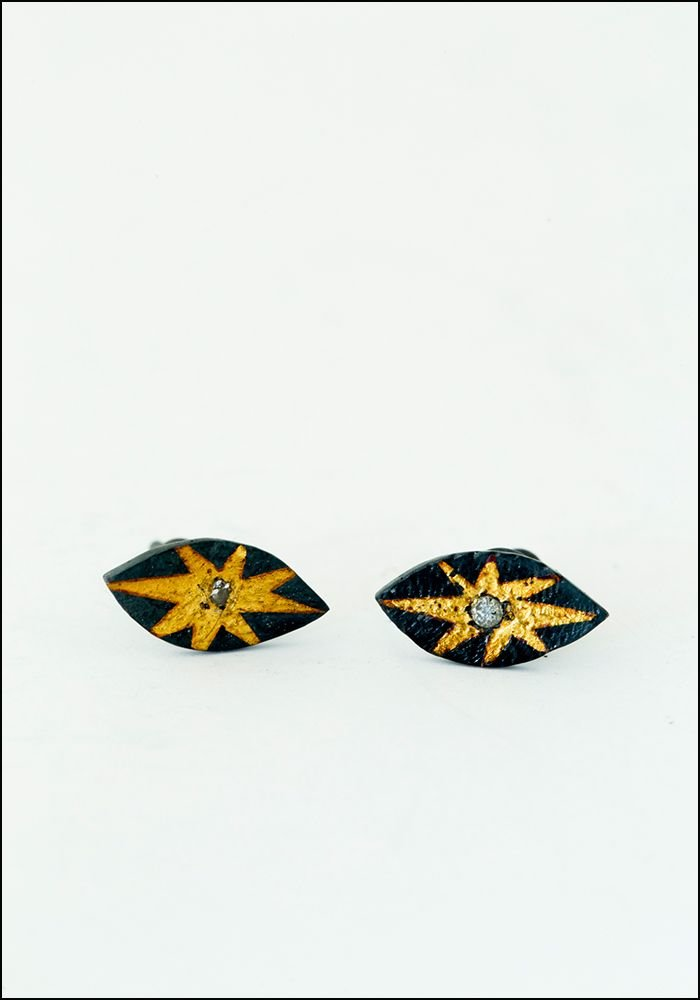 Acanthus Evil Eye Diamond Studs