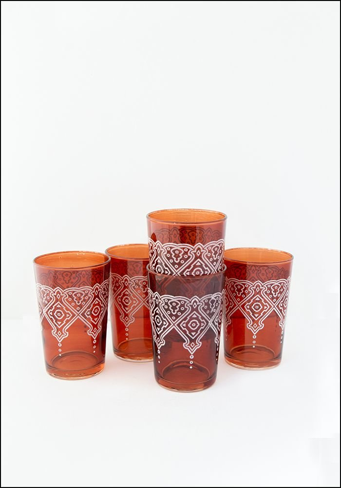 Khmissa Khmissa Cognac White Relief Glass