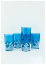 Khmissa Khmissa Blue White Relief Glass